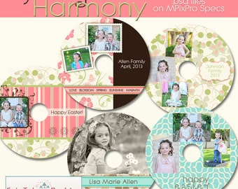 INSTANT Download  - Spring Harmony CD/DVD Label Collection - Set of 5 custom cd/dvd label templates for photographers on mpixpro specs