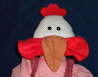 HELENA Hen Chicken Fabric Plush Folk Art Country Rag Doll - OOAK