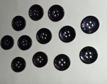 "Vintage Dark Purple Glossy 4-hole 1/2"" Button -- 36 pcs   (B410)"