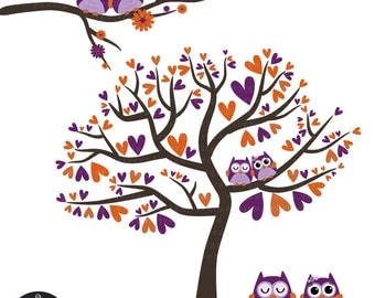 Owl Love Birds - Orange Plum - Digital Clip Art