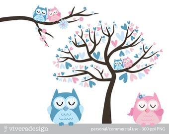 Owl Love Birds - in Blue and Pink - Digital Clip Art