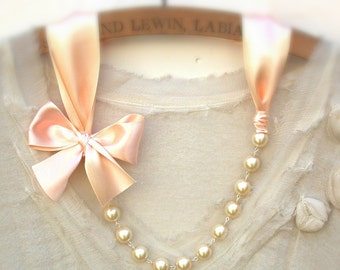 Peach Necklace Carrie Bradshaw  Inspired Pearl Necklace - Antique Light Peach Color Satin Ribbons. Perfect For  Bride, Wedding, Bridesmaids