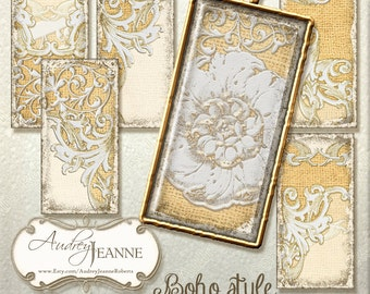 1 x 2 Domino Pendant Vintage Digital Collage Sheet AJR-B002P Burlap Lace Bohemian Style Boho Antique Ephemera Floral Flower