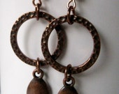 Copper Circle Earrings / Copper & Crystal / Hammered Copper Earrings / Geometric Modern Drop Earrings