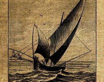 INSTANT DOWNLOAD - Fishing Ship Vintage Illustration - Download and Print Image Transfer Digital Sheet by Room29 - Sheet no. 951