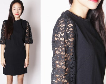 Vintage Black 60s Sheer Lace Sleeve Short Dress / Black 60s Lace Dress / 1960s Short Black Dresses / LBD / 2132