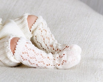 KNIT BABY SOCKS off white  ivory lace socks Baby shower gift Baptism accessory Legwear