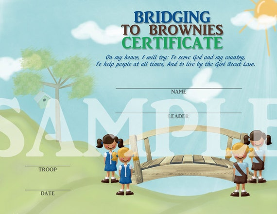 Girl Scouts Bridging to Brownies Certificate with Girl Scout Promise