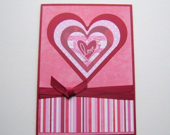 Valentine Card Pink and Red Layered Hearts Happy Valentine's Day