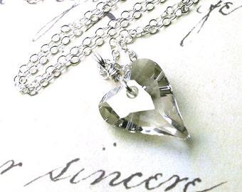The Swarovski Wild Heart Crystal Pendant in Silver Crystal - Handmade wit h Swarovski Crystal and Sterling Silver