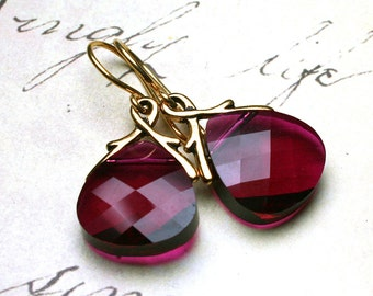 Briolette Crystal Earrings in Ruby Red and Gold - Handmade with Swarovski Crystal and 18K Gold Vermeil - FREE SHIPPING