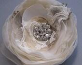 Wedding bridal hairpiece hair flower accessory rustic shabby burlap vintage lace Champagne Nude Beige Ivory Fascinator rhinestone