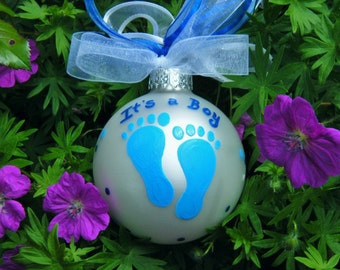 It's a Boy - Personalized Baby Feet Ornament - Hand Painted Glass Ball - Personalized Ornament, New Baby, Gender Reveal Ornament, Baby Gift