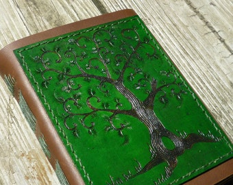 Tree of Life Leather journal, diary, noteboook. Green Tree, Made in Vermont CUSTOM ORDER