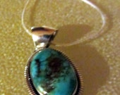 Handmade genuine turquoise sterling silver necklace signed jewelry