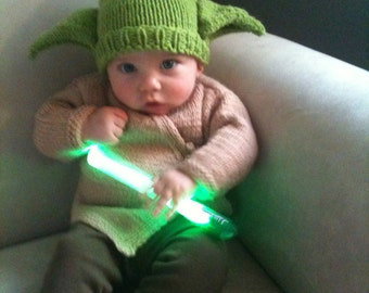 Baby Yoda Knitted Green Hat and Brown Jacket Set READY TO SHIP
