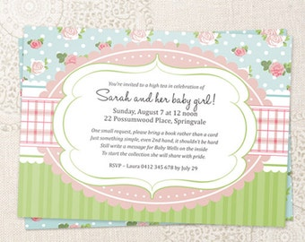 Shabby Chic Baby Shower Invitation Digital Printable