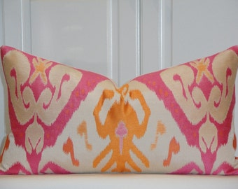 RESERVED - 12 x 22 - Decorative Pillow Cover - IKAT - Geometric - Orange - Pink