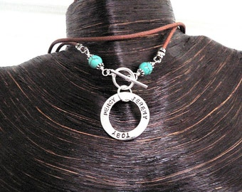 Mothers' Circle Necklace -  Turquoise, Leather & Sterling Edition