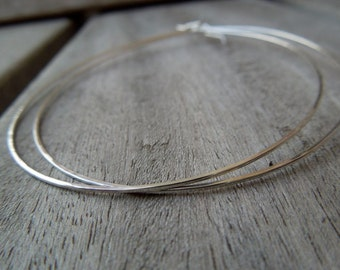 Silver Hoops-Sterling Silver Thin Large Hoop Earrings-Bohemian Ease in Silver