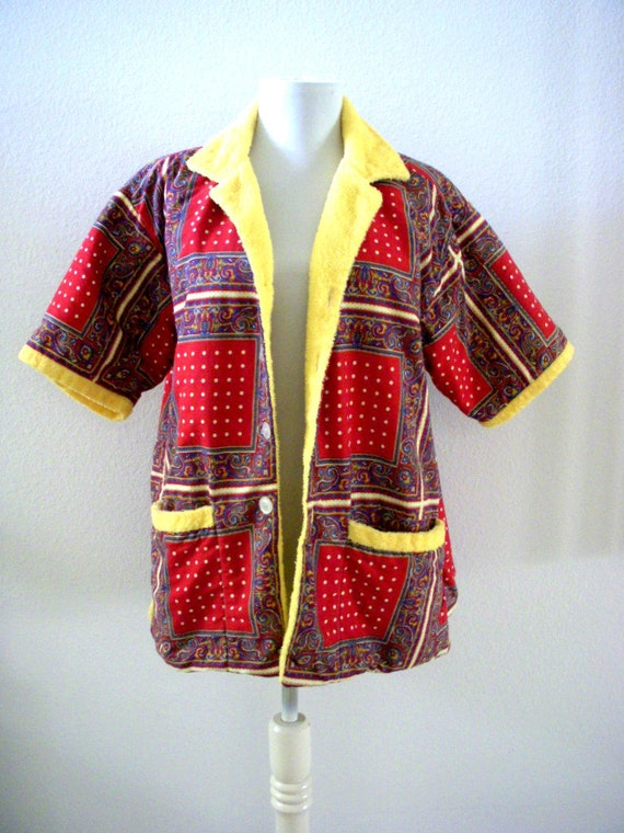Vintage 60s Mens Red Cabana Shirt With Terry Cloth Lining