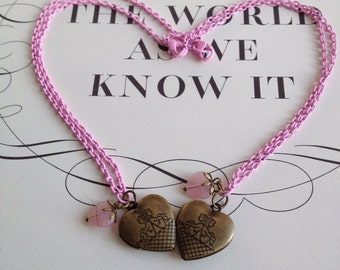 Brass Necklace- Best friends heart lockets
