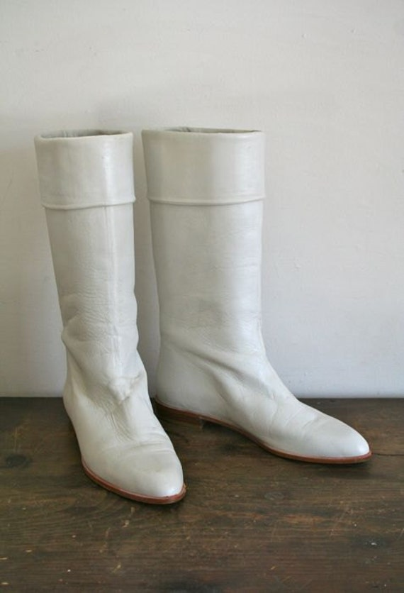vintage leather boots winter white boots sz 10
