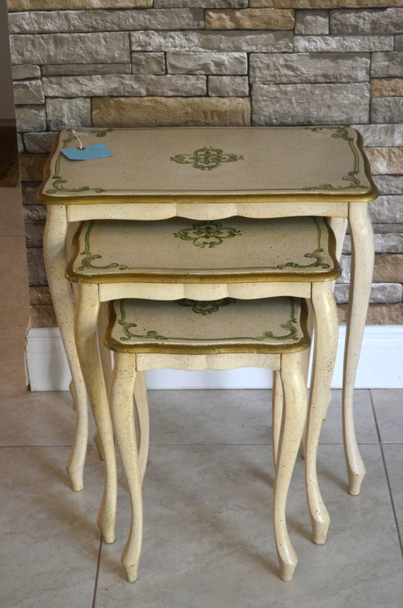 Vintage italian antique white nesting tables shabby chic