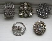 5 Vintage Rhinestone Buttons