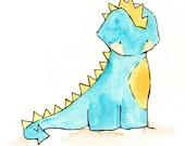 Dragon Prince -- Nursery Art Dragon. Dinosaur