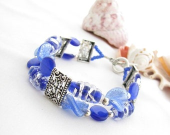 Blue Double Strand Beaded Bracelet