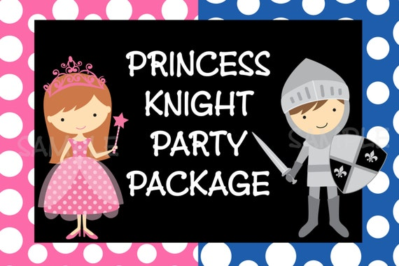 Items similar to Princess Knight Birthday Invitation Party – Princess and Knight Party Invitations
