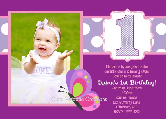 items similar to butterfly birthday invitation - 1st birthday, Birthday invitations