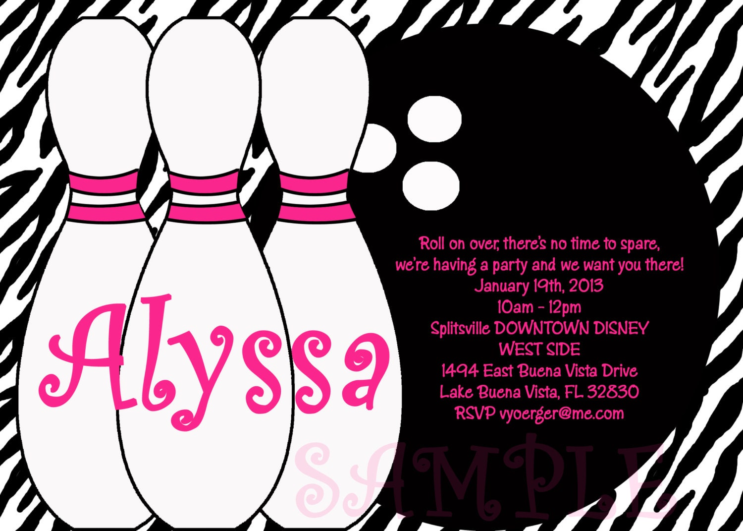 Bowling Birthday Party Invitations Printable or Printed – Free Bowling Birthday Party Invitations
