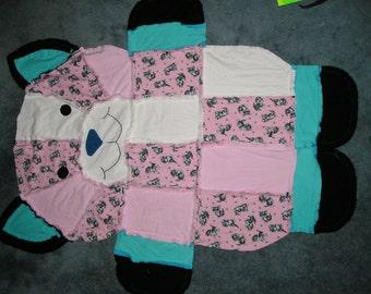 Cat Shape Flannel Fabric Rag Quilt