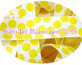 Polka Dot ribbon 5 yards- 7/8 inch White/Yellow Silly dot grosgrain ribbon