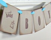 Baby boy shower banner, vintage inspired brown and blue welcome baby boy sign, baby boy shower decor, new baby boy garland, party decor
