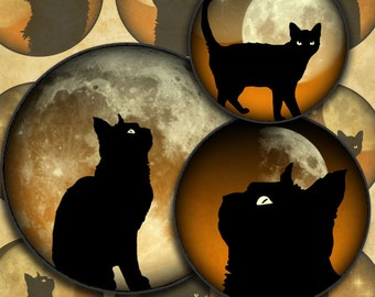 Black Cats on Orange Skies 1 inch Circles Halloween Digital Collage Sheet--Instant Download