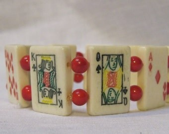 deck of card bracelet with red glass beads