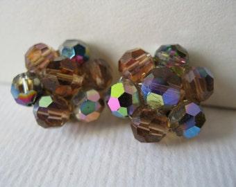 Vintage Rhinestones Cluster Clip Earrings