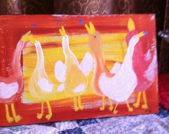 6 Dancing Ducks original folk art painting by Nita Marked 1/2 off sale