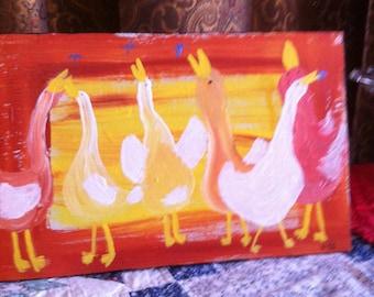 6 Dancing Ducks original folk art painting by Nita