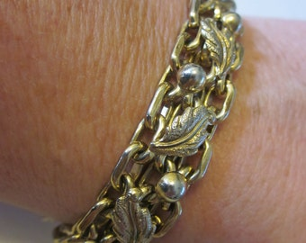 Grapes of Wrath - Vintage Gold Tone Costume Bracelet