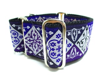 """Houndstown 2"""" Purple Diamonds Unlined Martingale Collar Size Small, Medium, or Large"""