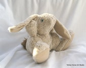 Phat B Easter bunny in tan faux fur with light blue eyes-SALE - yellowhorseartstudio