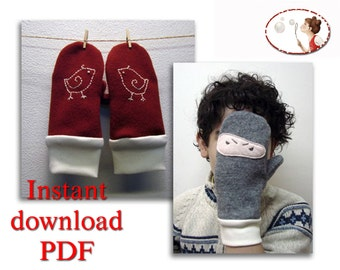 Sewing pattern for Mittens - Bird and Ninja