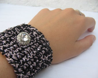 Crocheted metallic PINK and black CUFF with rhinestone