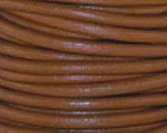 1mm Round Leather Cord Light Brown : 2 yards 1.83m