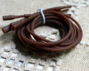 4pcs Silicone Cord Snap Closures Brown 16in Or 18in 2mm Rubber Necklaces