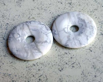 Gemstone Howlite Natural White 40mm Donut Beading Component